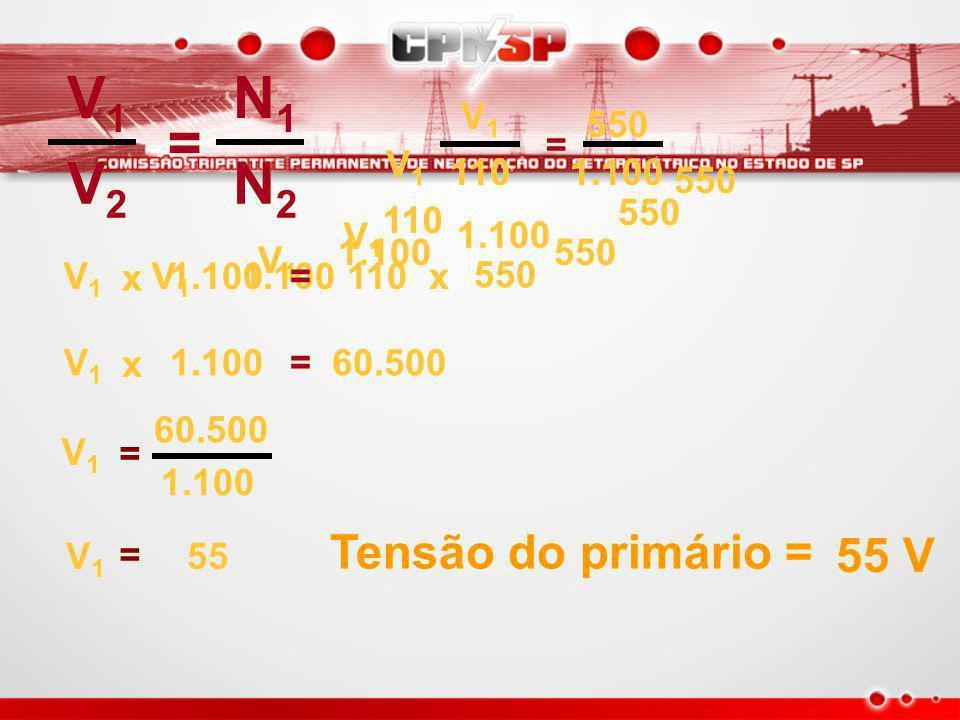 N1 N2 V2 V1 110 == V1 550 1.100 V1V1 V1V1 V2V2 V2V2 == N1N1 N1N1 N2N2 N2N2 550 Espiras no primário 1.100 Espiras no secundário Tensão no secundário – 110V Tensão no primário – ?