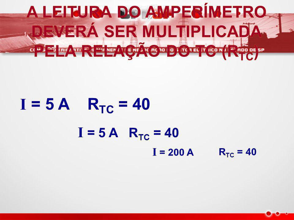 TC A LIGAÇÃO SÉRIE COM O CONDUTOR SÉRIE COM O CONDUTOR R TC = 40 I = 5 A O SECUNDÁRIO DO TC SEMPRE DEVERÁ ESTAR CURTO-CIRCUITADO O SECUNDÁRIO DO TC SEMPRE DEVERÁ ESTAR CURTO-CIRCUITADO