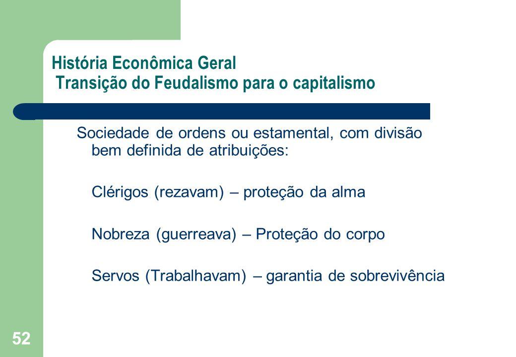 52 História Econômica Geral Transição do Feudalismo para o capitalismo Sociedade de ordens ou estamental, com divisão bem definida de atribuições: Clé