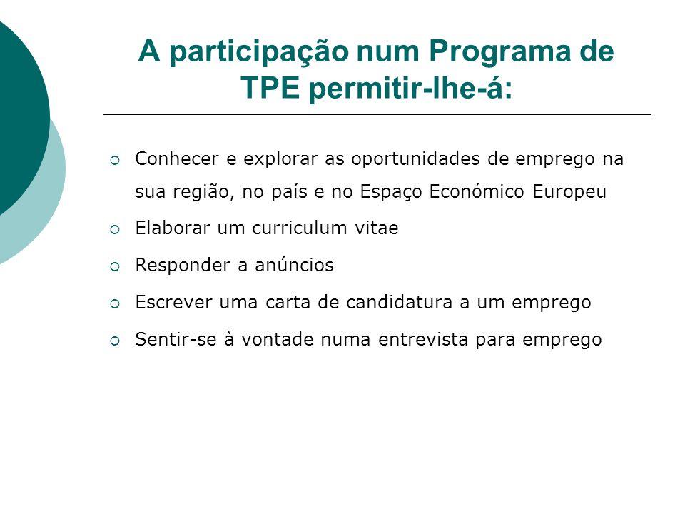 A participação num Programa de TPE permitir-lhe-á: Conhecer e explorar as oportunidades de emprego na sua região, no país e no Espaço Económico Europe