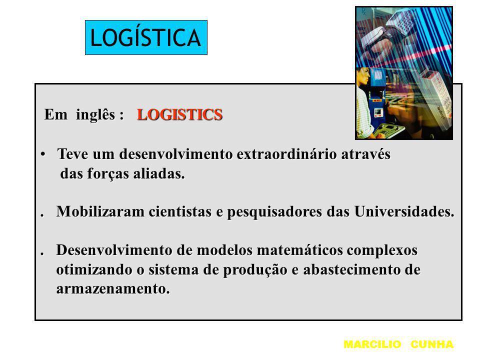 LOGÍSTICA Em inglês : LOGISTICS Em inglês : LOGISTICS Teve um desenvolvimento extraordinário através Teve um desenvolvimento extraordinário através da