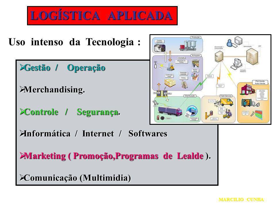 LOGÍSTICA APLICADA Uso intenso da Tecnologia : Gestão / Operação Gestão / Operação Merchandising. Merchandising. Controle / Segurança. Controle / Segu