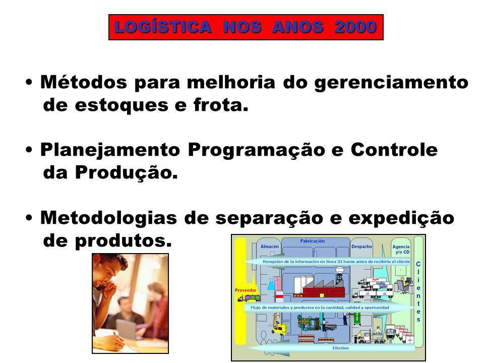 LOGÍSTICA NOS ANOS 2000 Métodos para melhoria do gerenciamento de estoques e frota. Planejamento Programação e Controle da Produção. Metodologias de s