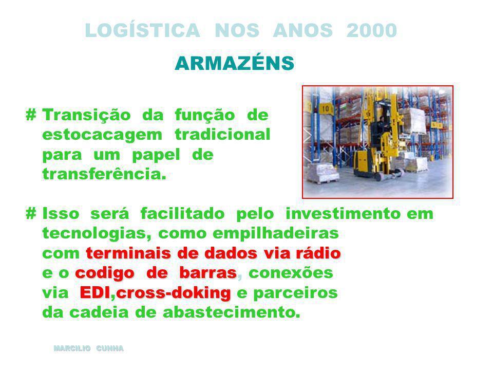 LOGÍSTICA NOS ANOS 2000 ARMAZÉNS # Transição da função de estocacagem tradicional para um papel de transferência. # Isso será facilitado pelo investim
