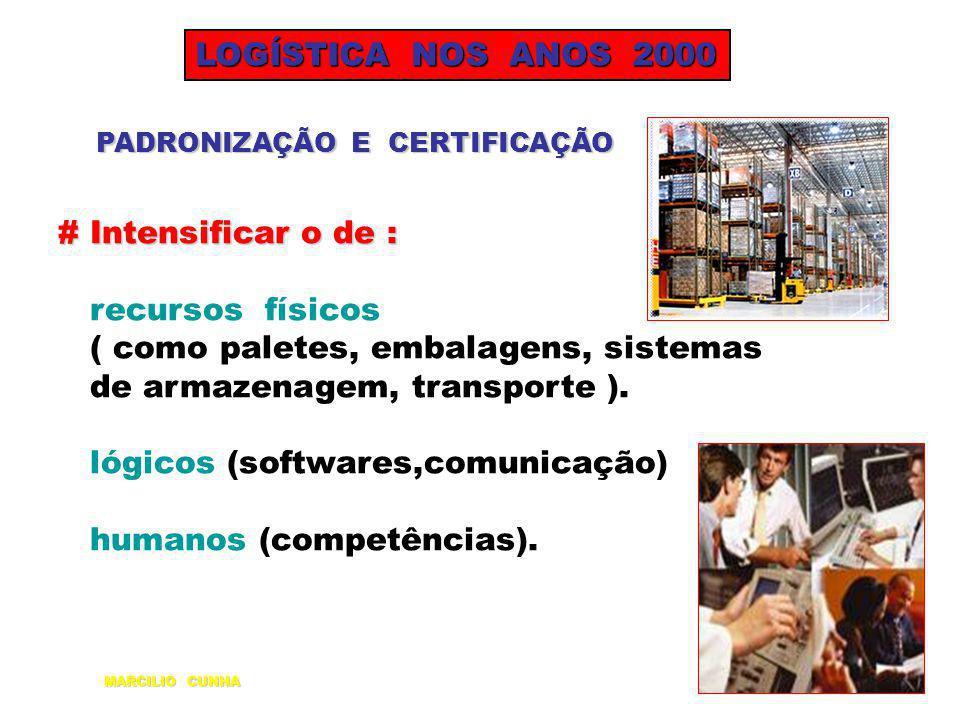 LOGÍSTICA NOS ANOS 2000 PADRONIZAÇÃO E CERTIFICAÇÃO # Intensificar o de : recursos físicos ( como paletes, embalagens, sistemas de armazenagem, transp