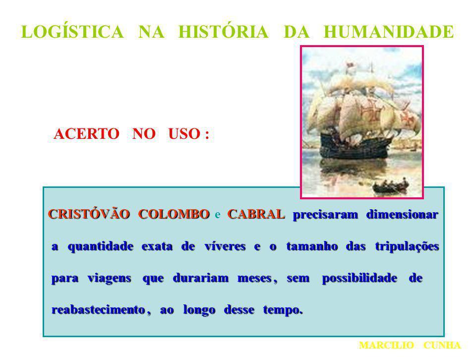 LOGÍSTICA NA HISTÓRIA DA HUMANIDADE ACERTO NO USO : CRISTÓVÃO COLOMBOCABRALprecisaram dimensionar CRISTÓVÃO COLOMBO e CABRAL precisaram dimensionar a