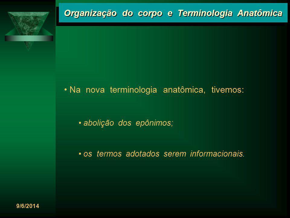 9/6/2014 Organização do corpo e Terminologia Anatômica Na nova terminologia anatômica, tivemos: abolição dos epônimos; os termos adotados serem inform