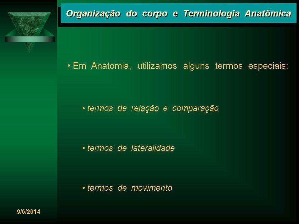 9/6/2014 Organização do corpo e Terminologia Anatômica Em Anatomia, utilizamos alguns termos especiais: termos de relação e comparação termos de later
