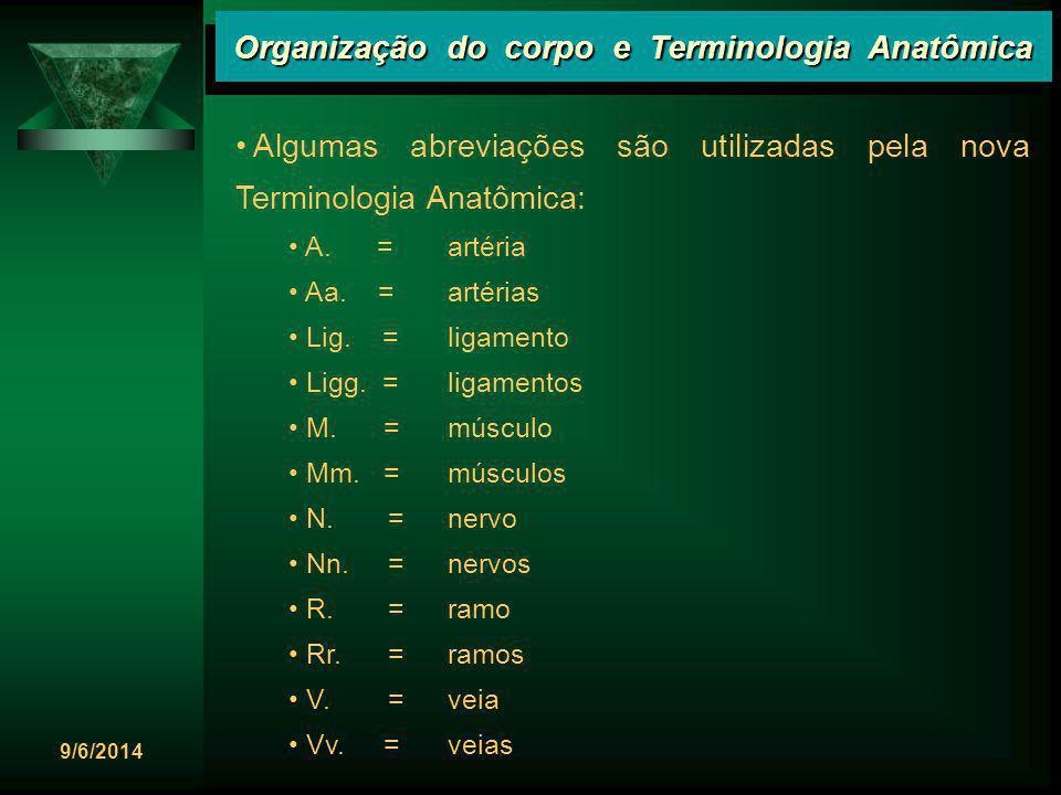 9/6/2014 Organização do corpo e Terminologia Anatômica Algumas abreviações são utilizadas pela nova Terminologia Anatômica: A. =artéria Aa. =artérias