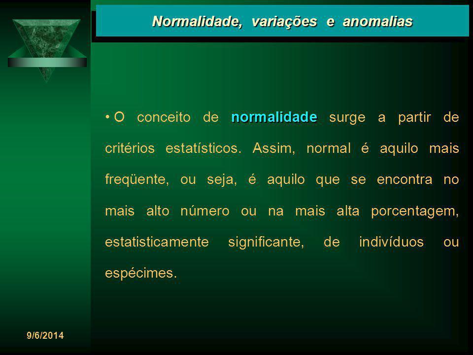 9/6/2014 Normalidade, variações e anomalias normalidade O conceito de normalidade surge a partir de critérios estatísticos. Assim, normal é aquilo mai