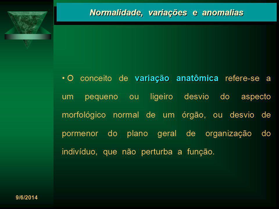 9/6/2014 variação anatômica O conceito de variação anatômica refere-se a um pequeno ou ligeiro desvio do aspecto morfológico normal de um órgão, ou de