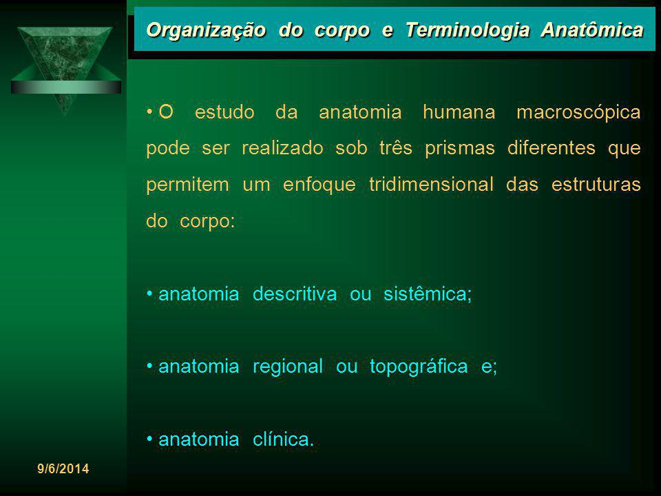 9/6/2014 Organização do corpo e Terminologia Anatômica A Anatomia, atualmente, obedece a chamada Terminologia Anatômica: International Anatomical Terminology (Federative Committee on Anatomical Terminology, 1998) FCAT