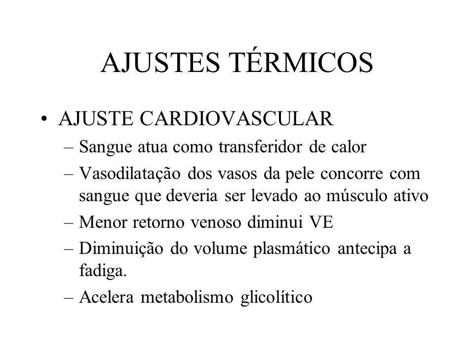 AJUSTES TÉRMICOS AJUSTE CARDIOVASCULAR –Sangue atua como transferidor de calor –Vasodilatação dos vasos da pele concorre com sangue que deveria ser le