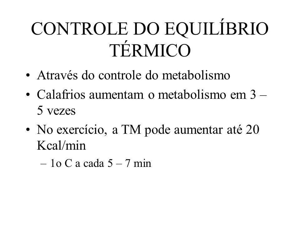 CONTROLE DO EQUILÍBRIO TÉRMICO Através do controle do metabolismo Calafrios aumentam o metabolismo em 3 – 5 vezes No exercício, a TM pode aumentar até
