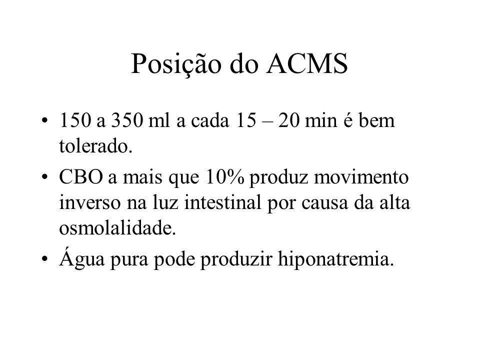 Posição do ACMS 150 a 350 ml a cada 15 – 20 min é bem tolerado. CBO a mais que 10% produz movimento inverso na luz intestinal por causa da alta osmola