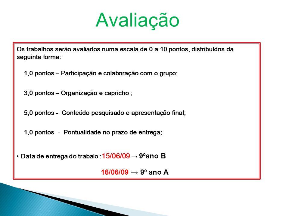 Avaliação Os trabalhos serão avaliados numa escala de 0 a 10 pontos, distribuídos da seguinte forma: 1,0 pontos – Participação e colaboração com o gru