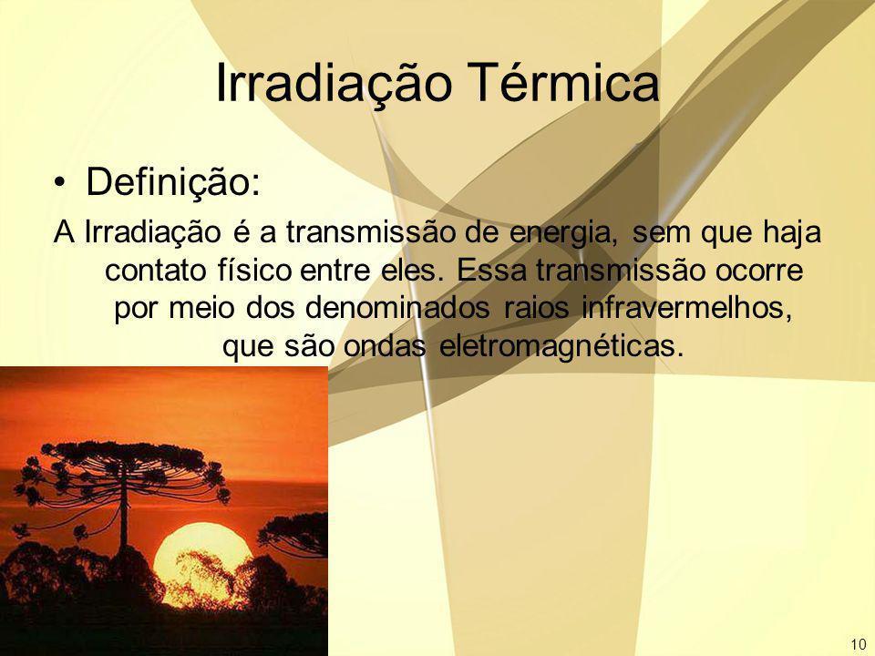 10 Irradiação Térmica Definição: A Irradiação é a transmissão de energia, sem que haja contato físico entre eles. Essa transmissão ocorre por meio dos
