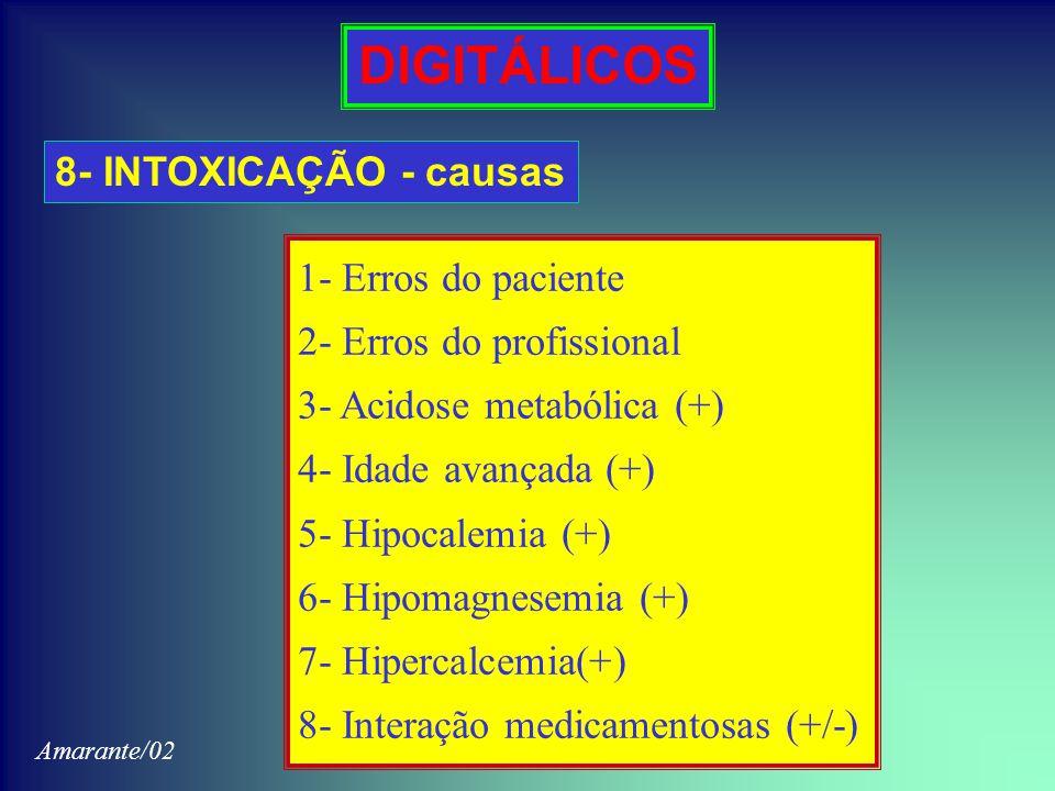 DIGITÁLICOS 8- INTOXICAÇÃO - causas 1- Erros do paciente 2- Erros do profissional 3- Acidose metabólica (+) 4- Idade avançada (+) 5- Hipocalemia (+) 6- Hipomagnesemia (+) 7- Hipercalcemia(+) 8- Interação medicamentosas (+/-) Amarante/02