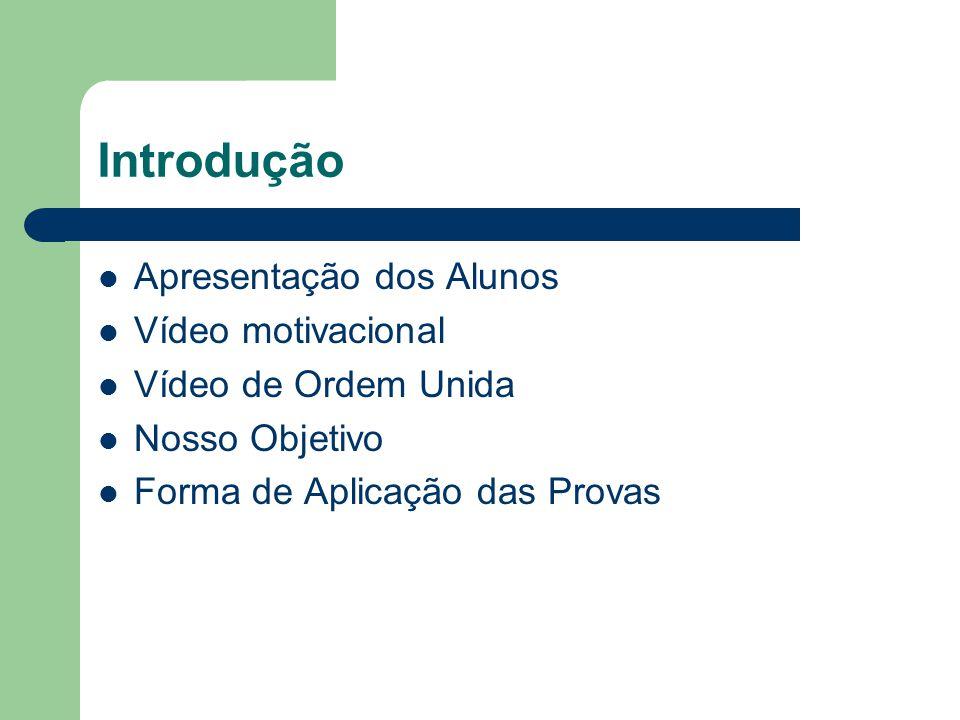 Introdução Apresentação dos Alunos Vídeo motivacional Vídeo de Ordem Unida Nosso Objetivo Forma de Aplicação das Provas