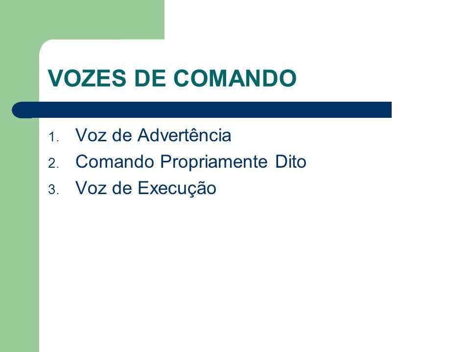 VOZES DE COMANDO 1. Voz de Advertência 2. Comando Propriamente Dito 3. Voz de Execução