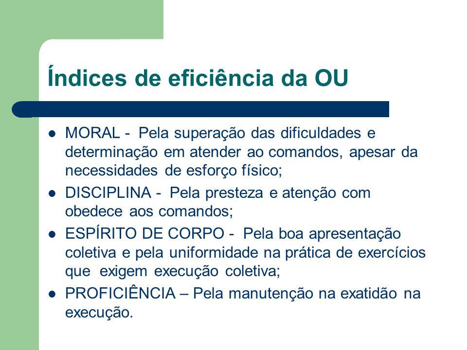 Índices de eficiência da OU MORAL - Pela superação das dificuldades e determinação em atender ao comandos, apesar da necessidades de esforço físico; D