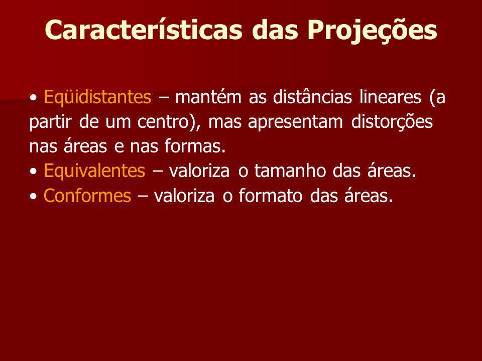 Características das Projeções Eqüidistantes – mantém as distâncias lineares (a partir de um centro), mas apresentam distorções nas áreas e nas formas.