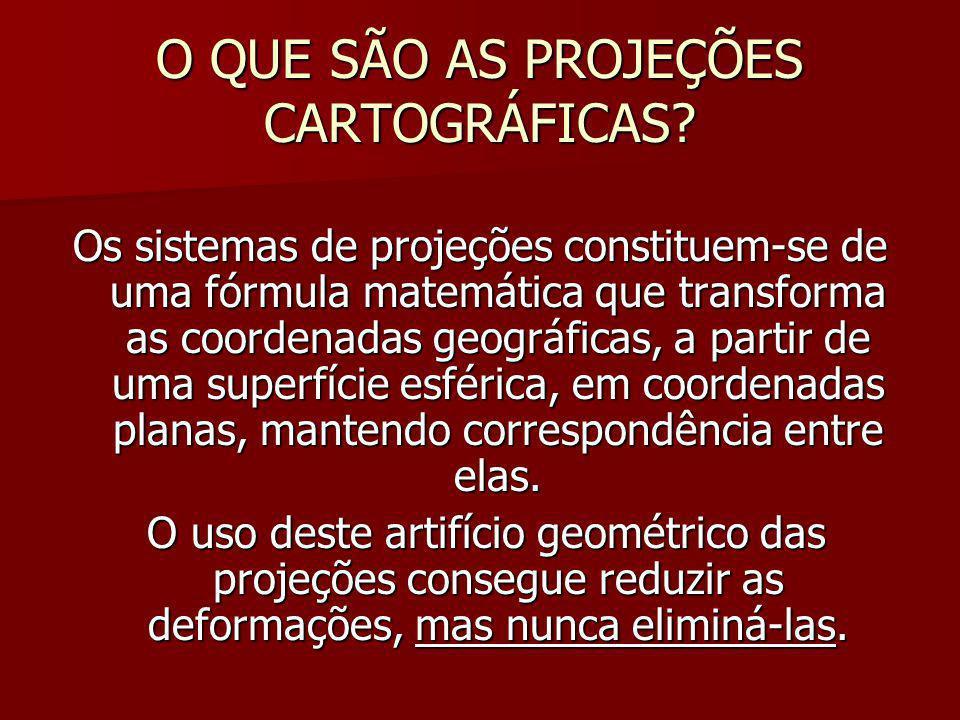 PROJEÇÕES CARTOGRÁFICAS Projeções Afiláticas – - não possui nenhuma das propriedades anteriores.