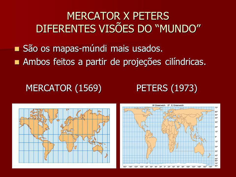 MERCATOR X PETERS DIFERENTES VISÕES DO MUNDO São os mapas-múndi mais usados. São os mapas-múndi mais usados. Ambos feitos a partir de projeções cilínd