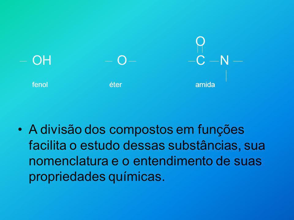 O OH O C N fenol éter amida A divisão dos compostos em funções facilita o estudo dessas substâncias, sua nomenclatura e o entendimento de suas proprie