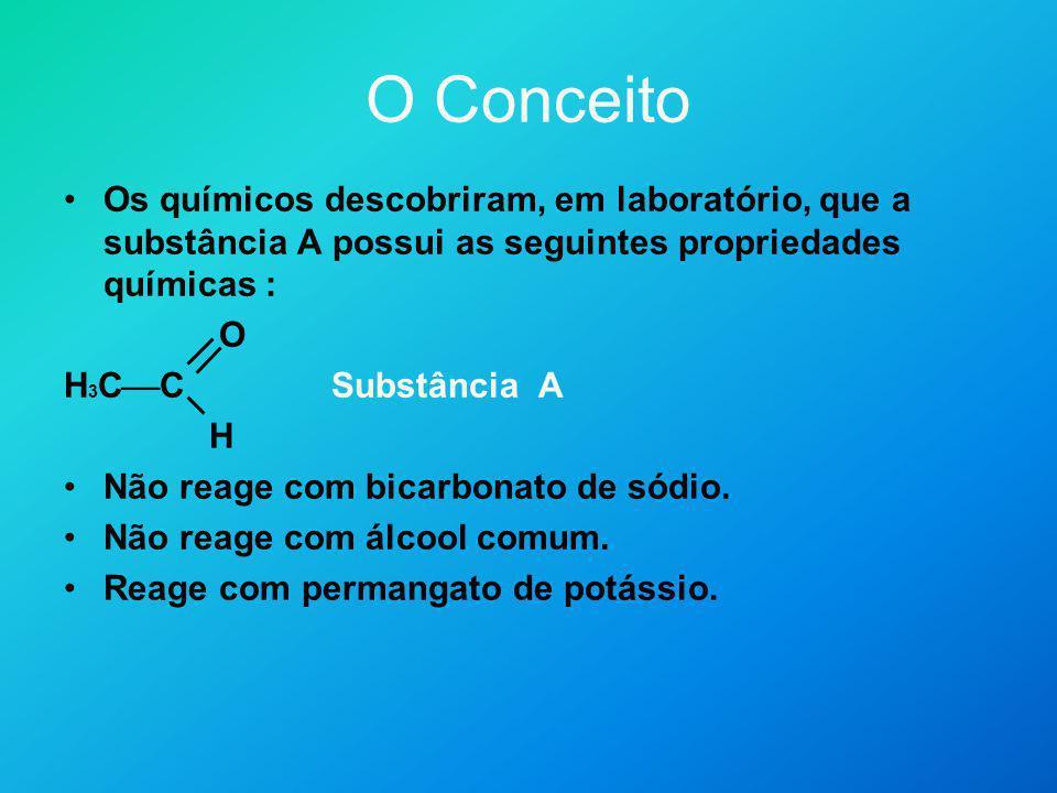 O Conceito Os químicos descobriram, em laboratório, que a substância A possui as seguintes propriedades químicas : O H 3 C C Substância A H Não reage