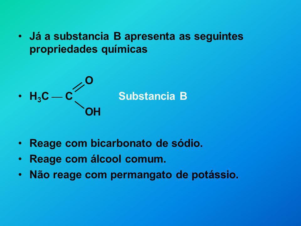 Já a substancia B apresenta as seguintes propriedades químicas O H 3 C C Substancia B OH Reage com bicarbonato de sódio. Reage com álcool comum. Não r