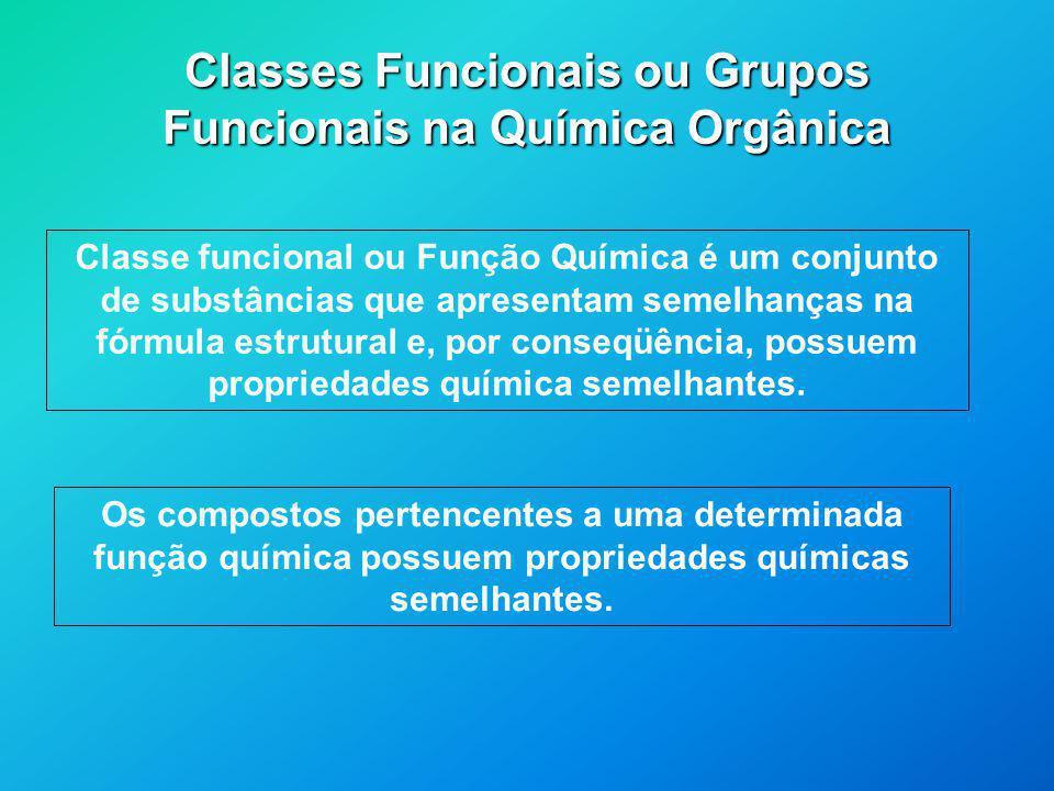 Classes Funcionais ou Grupos Funcionais na Química Orgânica Classe funcional ou Função Química é um conjunto de substâncias que apresentam semelhanças