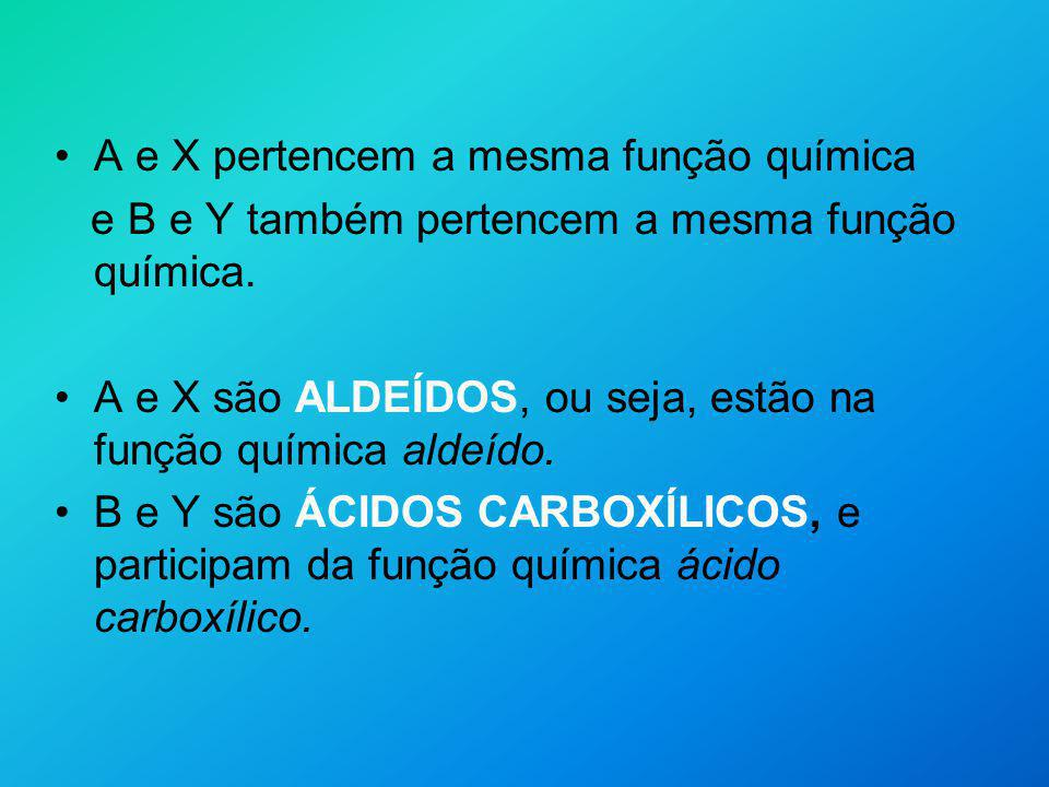 A e X pertencem a mesma função química e B e Y também pertencem a mesma função química. A e X são ALDEÍDOS, ou seja, estão na função química aldeído.