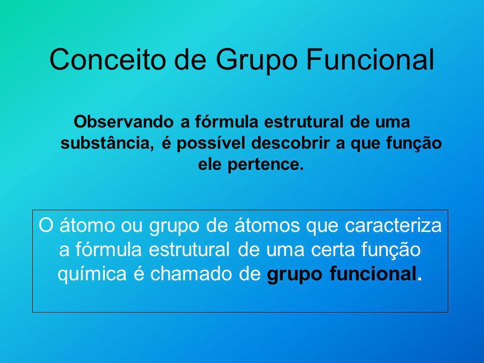 Conceito de Grupo Funcional Observando a fórmula estrutural de uma substância, é possível descobrir a que função ele pertence. O átomo ou grupo de áto