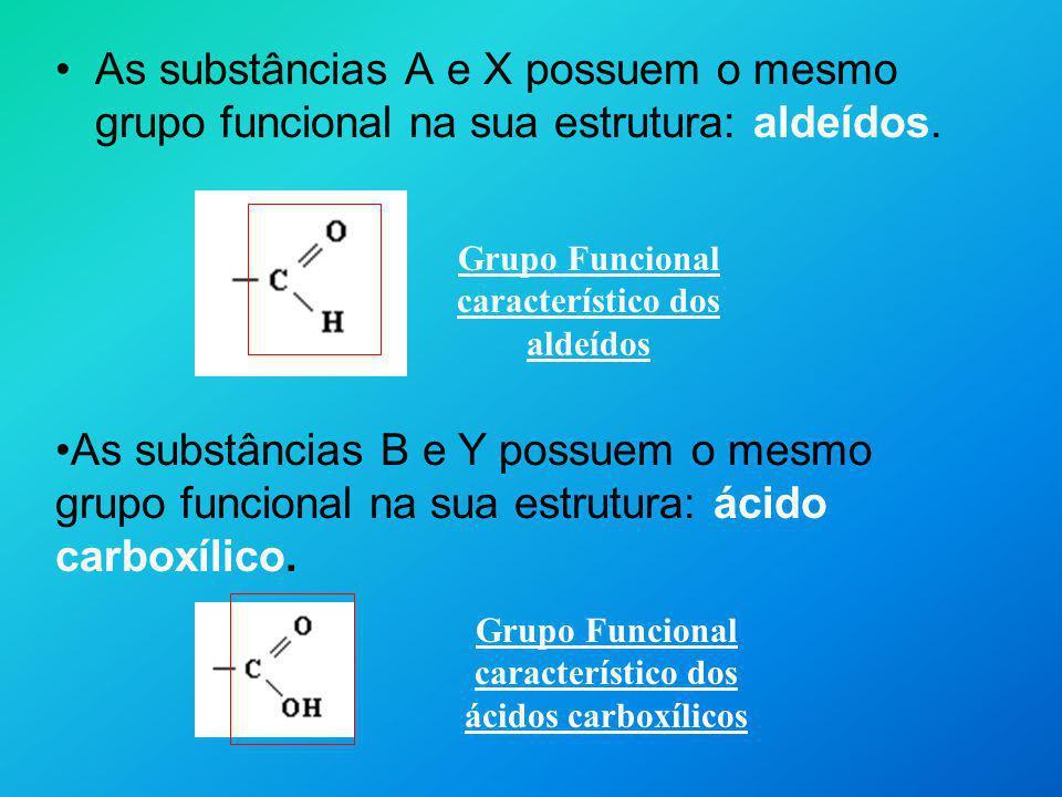 As substâncias A e X possuem o mesmo grupo funcional na sua estrutura: aldeídos. Grupo Funcional característico dos aldeídos Grupo Funcional caracterí