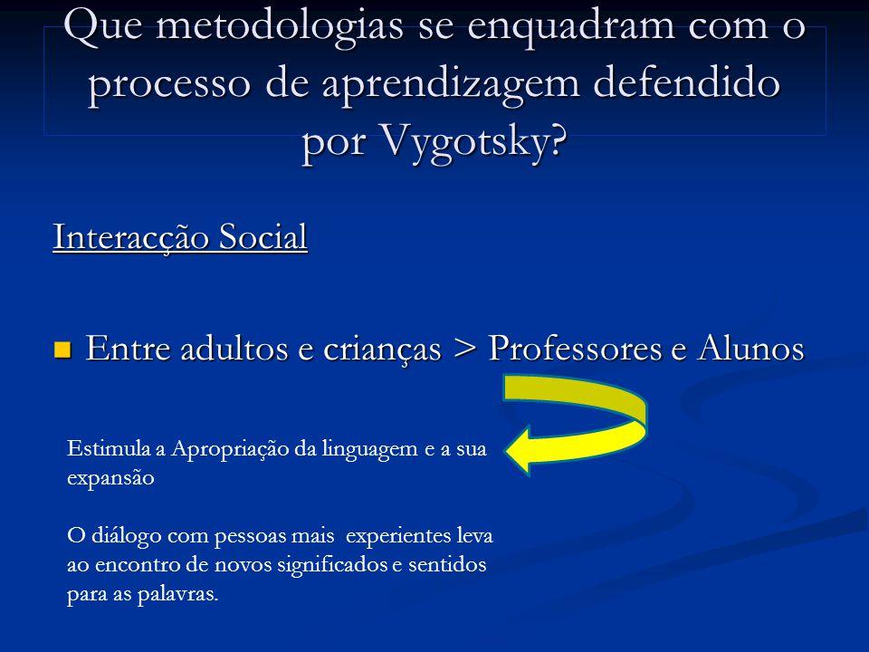 Que metodologias se enquadram com o processo de aprendizagem defendido por Vygotsky.