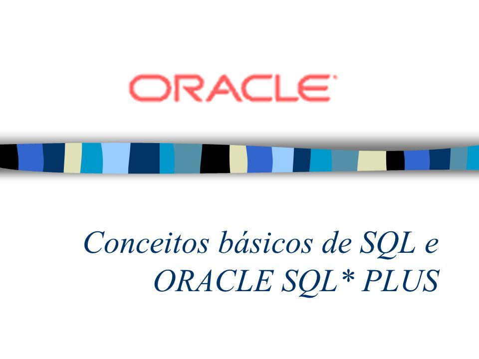 Utilizando o Comando TTITLE e o BTITLE –Exibe cabeçalhos e rodapés –Define o cabeçalho –Define o rodapé TTI[TLE] [texto OFF ON] SQL> TTITLE Relatório de Empregados SQL> BTITLE Confidencial