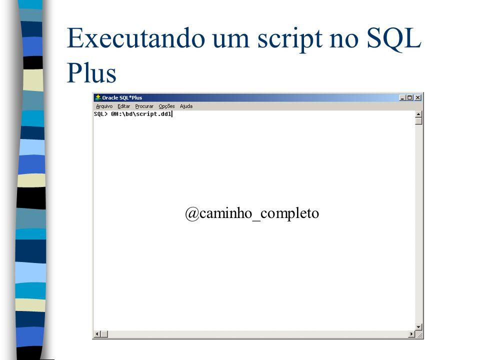 Executando um script no SQL Plus @caminho_completo