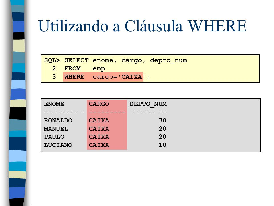 Utilizando a Cláusula WHERE SQL> SELECT enome, cargo, depto_num 2 FROM emp 3 WHERE cargo='CAIXA'; ENOME CARGO DEPTO_NUM ---------- --------- ---------