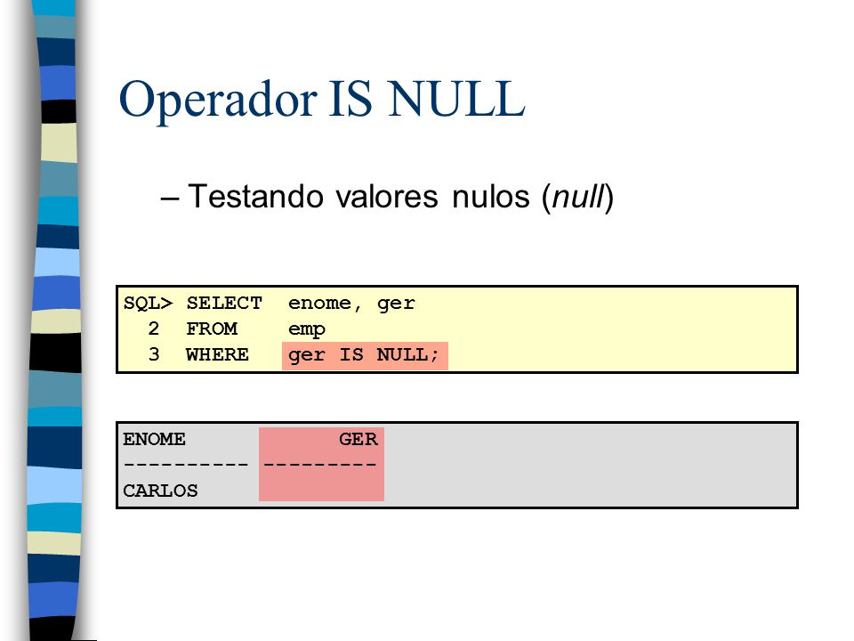 SQL> SELECT enome, ger 2 FROM emp 3 WHERE ger IS NULL; ENOME GER ---------- --------- CARLOS Operador IS NULL –Testando valores nulos (null)
