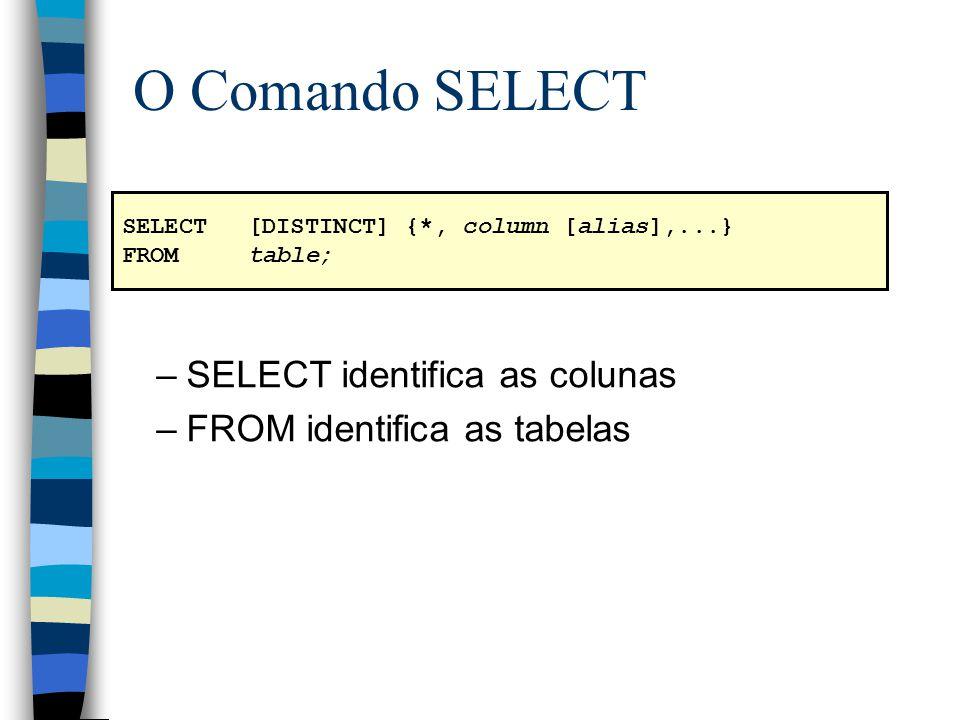 Selecionando linhas SQL> SELECT * 2 FROM depto; SQL> SELECT depto_num, depto_loc 2 FROM depto; SQL> SELECT enome, sal, sal+300 2 FROMemp; SQL> SELECT enome, sal, 12*sal+100 2 FROM emp;