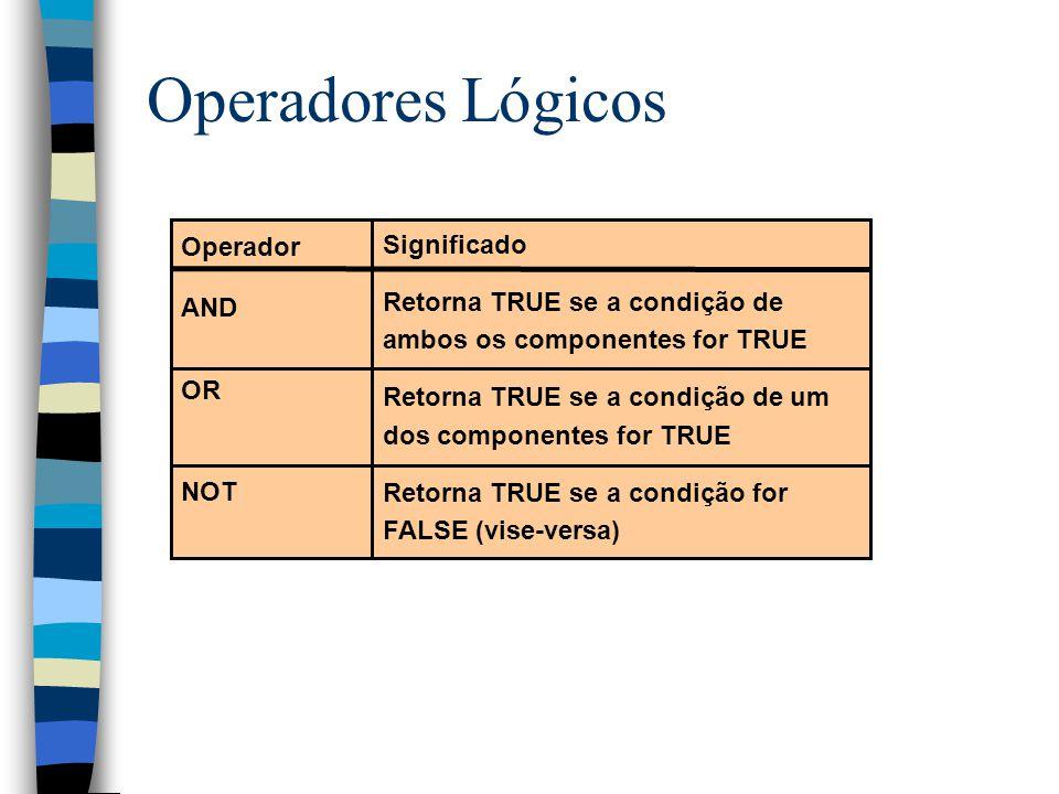 Operadores Lógicos Operador AND OR NOT Significado Retorna TRUE se a condição de ambos os componentes for TRUE Retorna TRUE se a condição de um dos componentes for TRUE Retorna TRUE se a condição for FALSE (vise-versa)