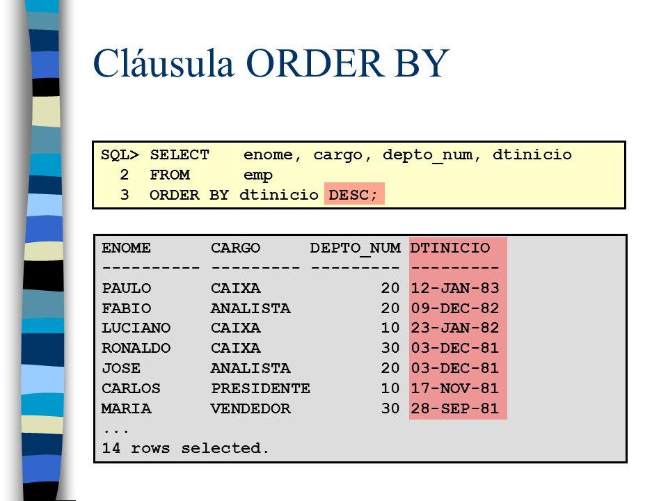 Cláusula ORDER BY SQL> SELECT enome, cargo, depto_num, dtinicio 2 FROM emp 3 ORDER BY dtinicio DESC; ENOME CARGO DEPTO_NUM DTINICIO ---------- --------- --------- --------- PAULO CAIXA 20 12-JAN-83 FABIO ANALISTA 20 09-DEC-82 LUCIANO CAIXA 10 23-JAN-82 RONALDO CAIXA 30 03-DEC-81 JOSE ANALISTA 20 03-DEC-81 CARLOS PRESIDENTE 10 17-NOV-81 MARIA VENDEDOR 30 28-SEP-81...