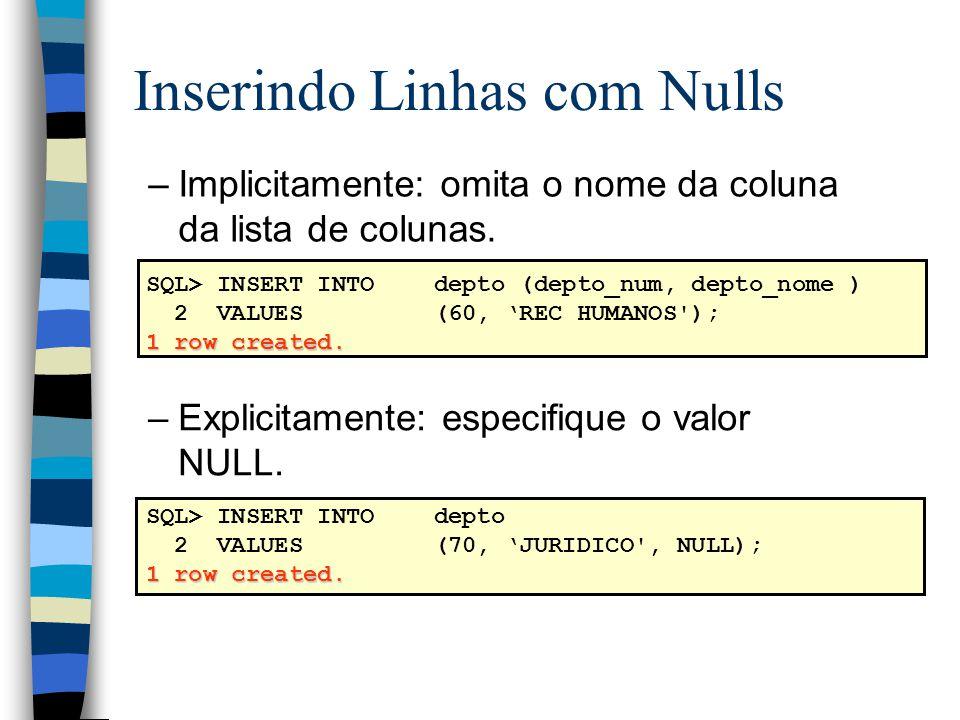 SQL> INSERT INTOdepto (depto_num, depto_nome ) 2 VALUES(60, REC HUMANOS ); 1 row created.