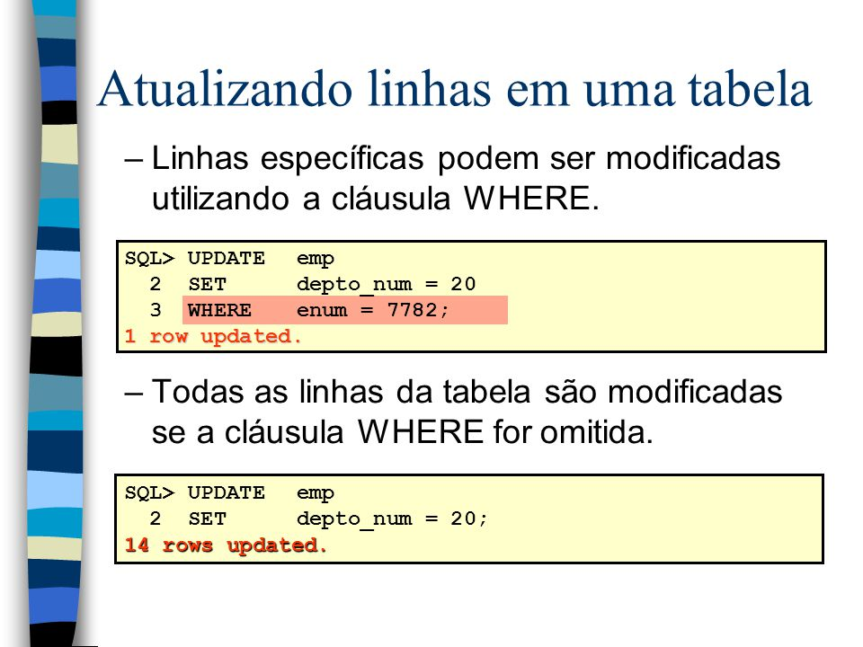 Atualizando linhas em uma tabela –Linhas específicas podem ser modificadas utilizando a cláusula WHERE. –Todas as linhas da tabela são modificadas se