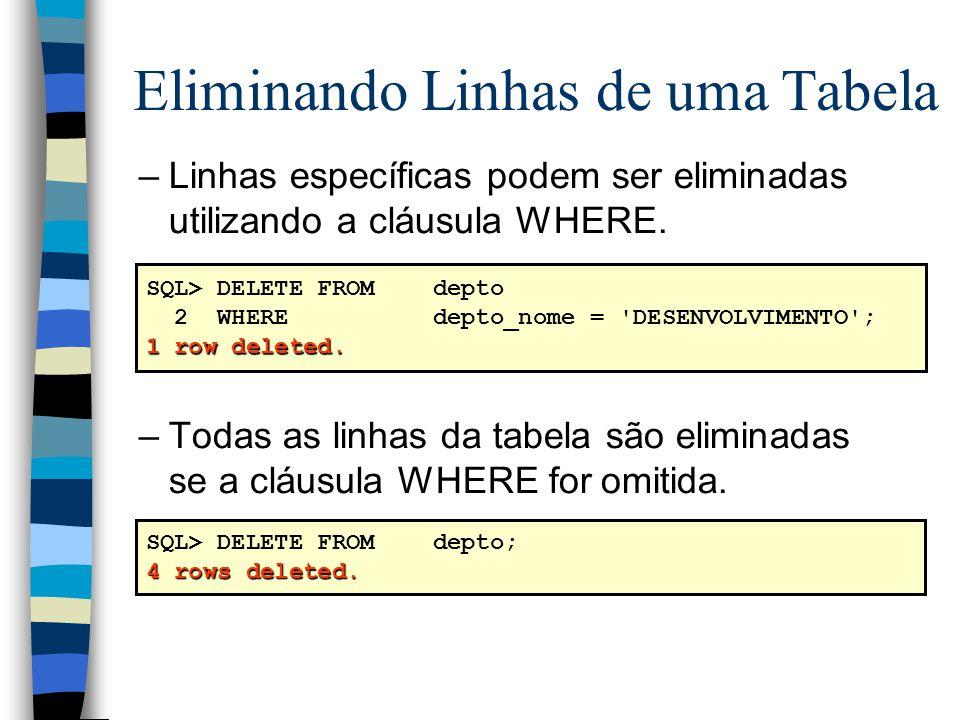 –Linhas específicas podem ser eliminadas utilizando a cláusula WHERE. –Todas as linhas da tabela são eliminadas se a cláusula WHERE for omitida. Elimi