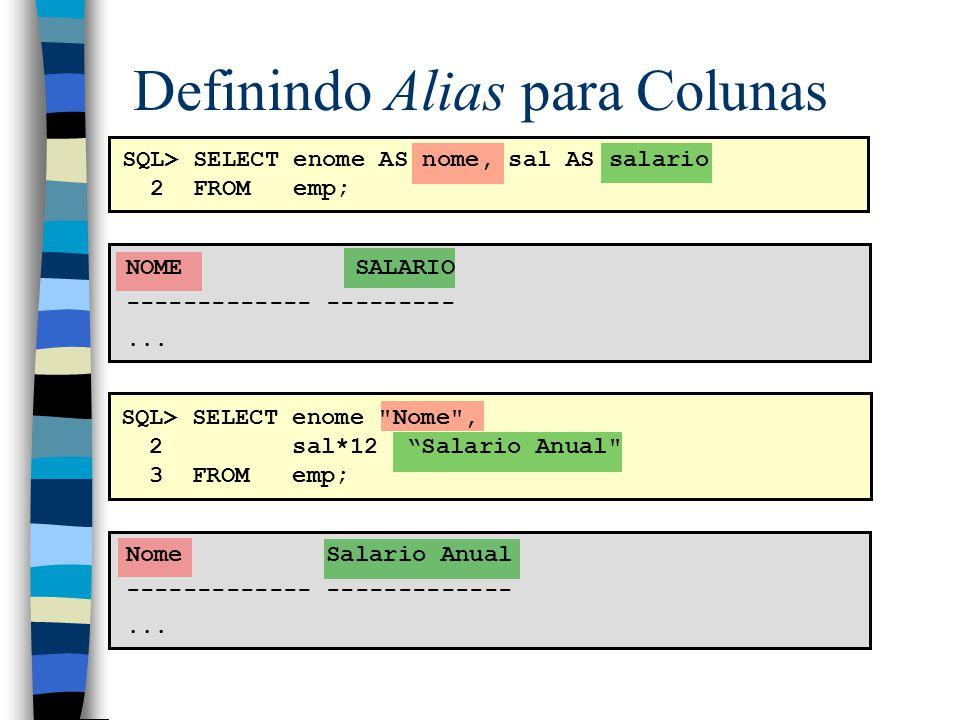 Eliminando Linhas Duplicadas SQL> SELECT DISTINCT depto_num 2 FROM emp; DEPTO_NUM --------- 10 20 30 –DISTINCT