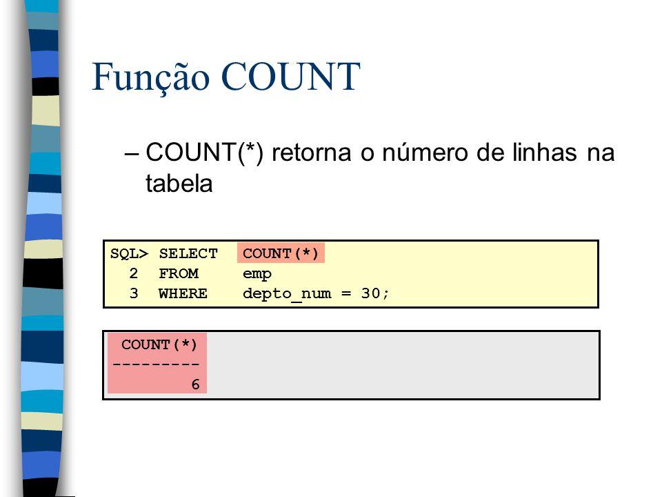 COUNT(*) --------- 6 SQL> SELECTCOUNT(*) 2 FROMemp 3 WHEREdepto_num = 30; Função COUNT –COUNT(*) retorna o número de linhas na tabela