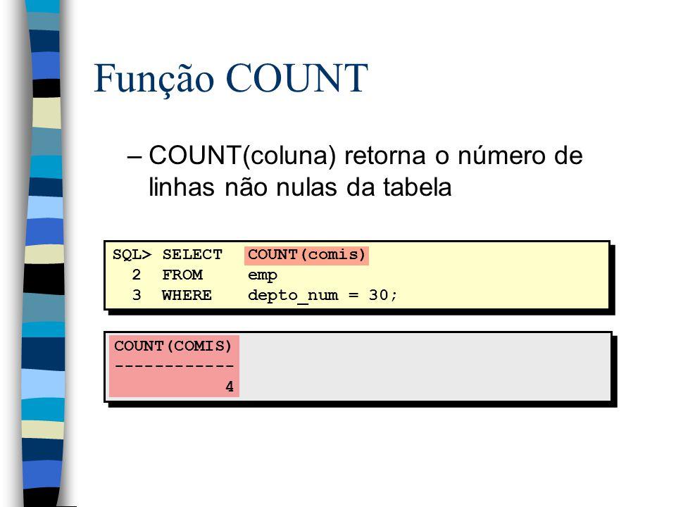COUNT(COMIS) ------------ 4 SQL> SELECTCOUNT(comis) 2 FROMemp 3 WHEREdepto_num = 30; Função COUNT –COUNT(coluna) retorna o número de linhas não nulas da tabela