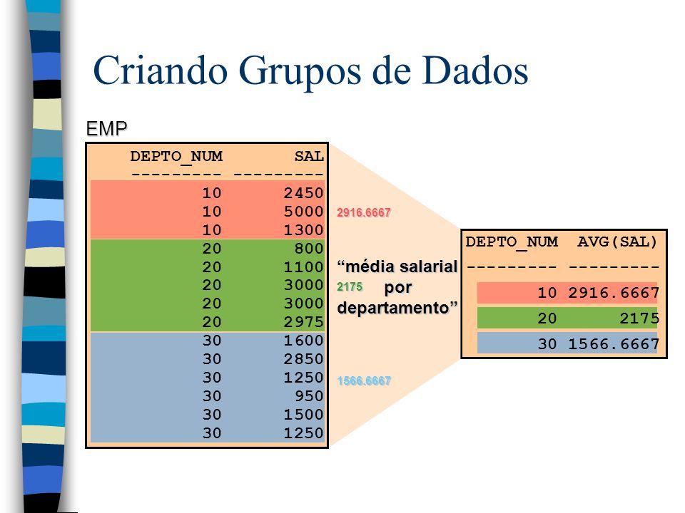 Criando Grupos de Dados EMP média salarial por departamento 2916.6667 2916.6667 2175 2175 1566.6667 1566.6667 DEPTO_NUM SAL --------- 10 2450 10 5000 10 1300 20 800 20 1100 20 3000 20 2975 30 1600 30 2850 30 1250 30 950 30 1500 30 1250 DEPTO_NUM AVG(SAL) --------- --------- 10 2916.6667 20 2175 30 1566.6667
